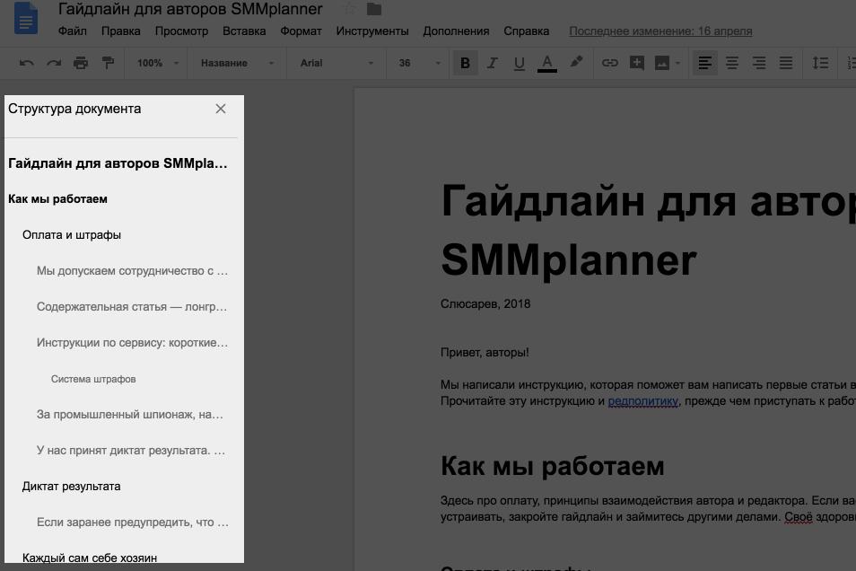 SMMplanner оглавление в Google Docs