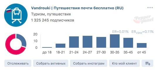 С помощью Pepper.Panel можно быстро посмотреть ЦА страницы Вконтакте