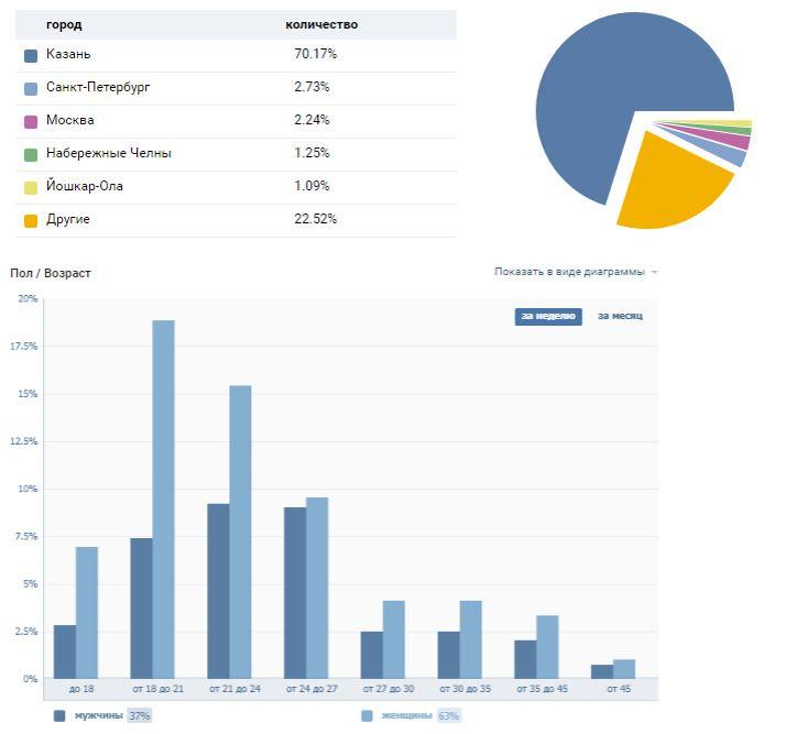 Пример статистики из «ВКонтакте»