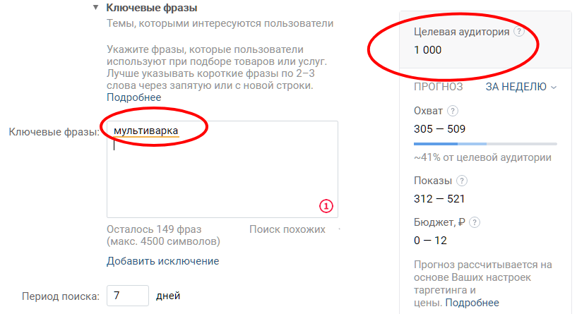 1000 человек искала что-то со словом «мультиварка» ВКонтакте или других проектах Mail.ru Group