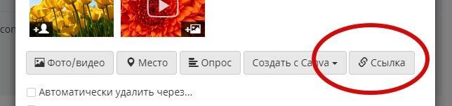 Кнопка «Ссылка» откроет строку для добавления