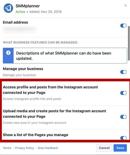 Если сервис подключается по API, то внутри соцсетей можно найти приложение с названием сервиса. На скриншоте можно увидеть приложение SMMplanner для Фейсбука