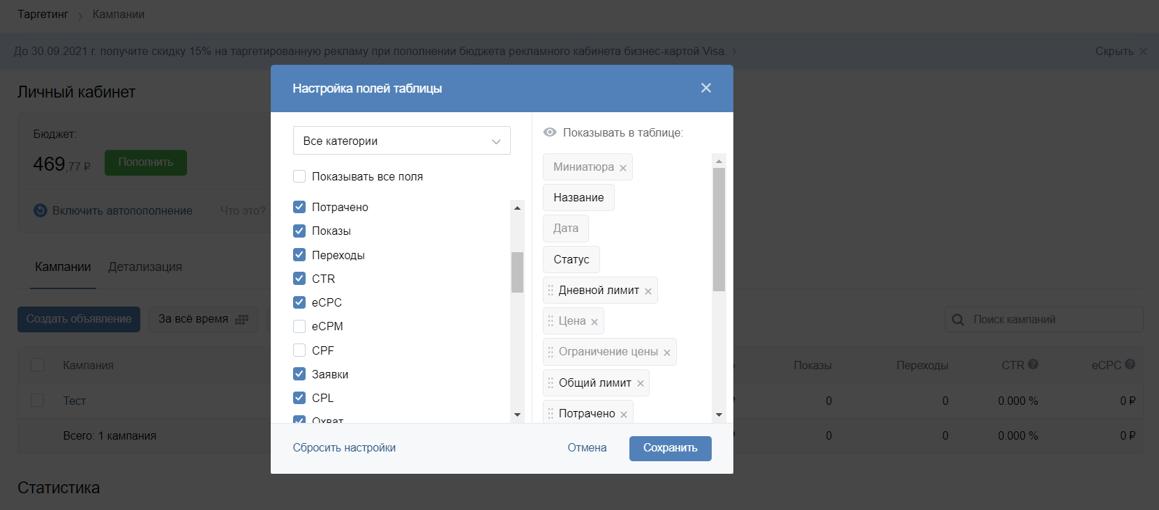 Показатели таргетированной рекламы, которые можно выгрузить из рекламного кабинета ВКонтакте