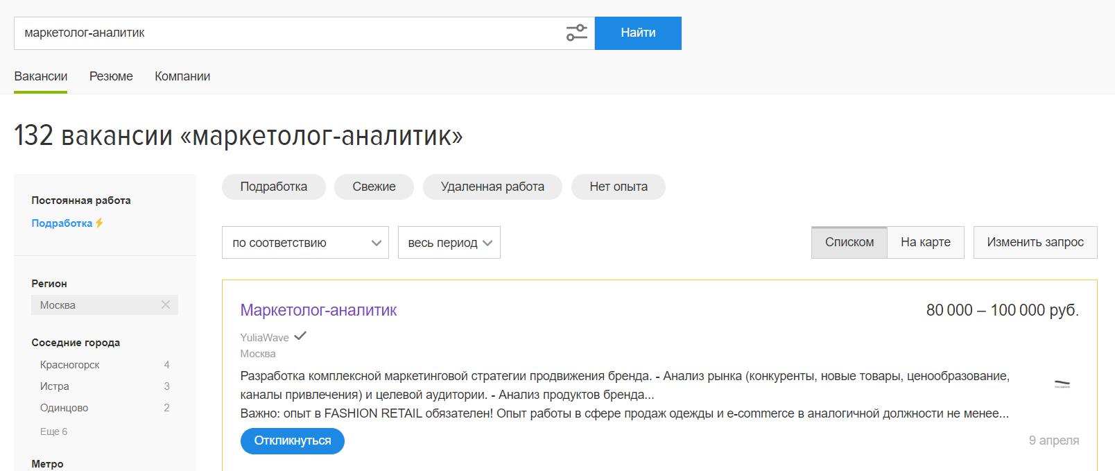 Вакансий для маркетологов-аналитиков по Москве на порядок больше, чем для digital-стратегов