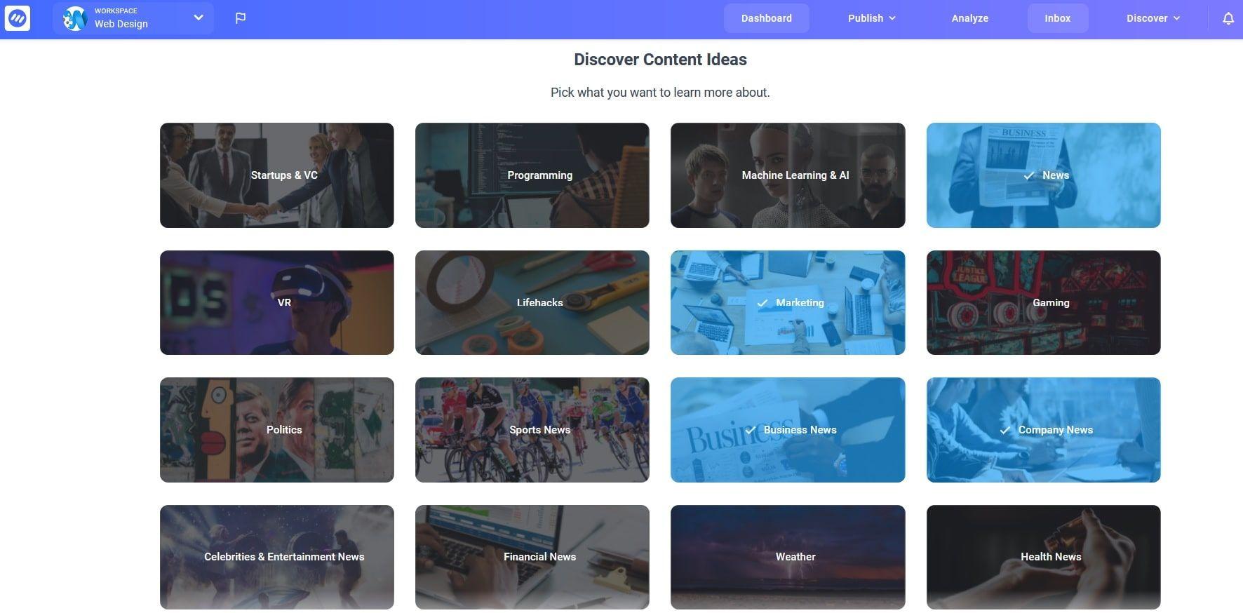 Выбирайте в ContentStudio интересные для себя темы и отслеживайте тренды
