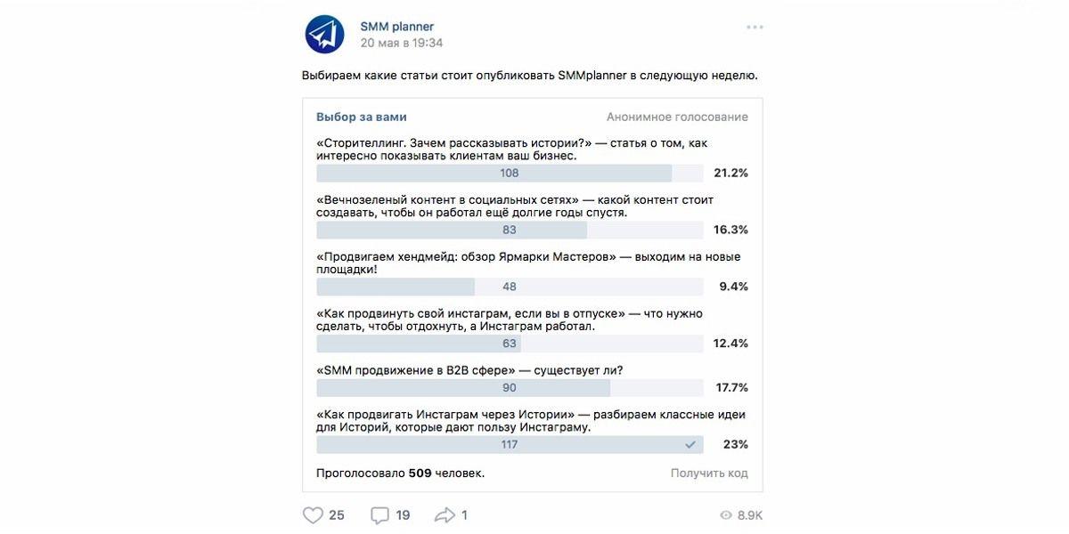 Опрос аудитории SMMplanner на тему следующей публикации