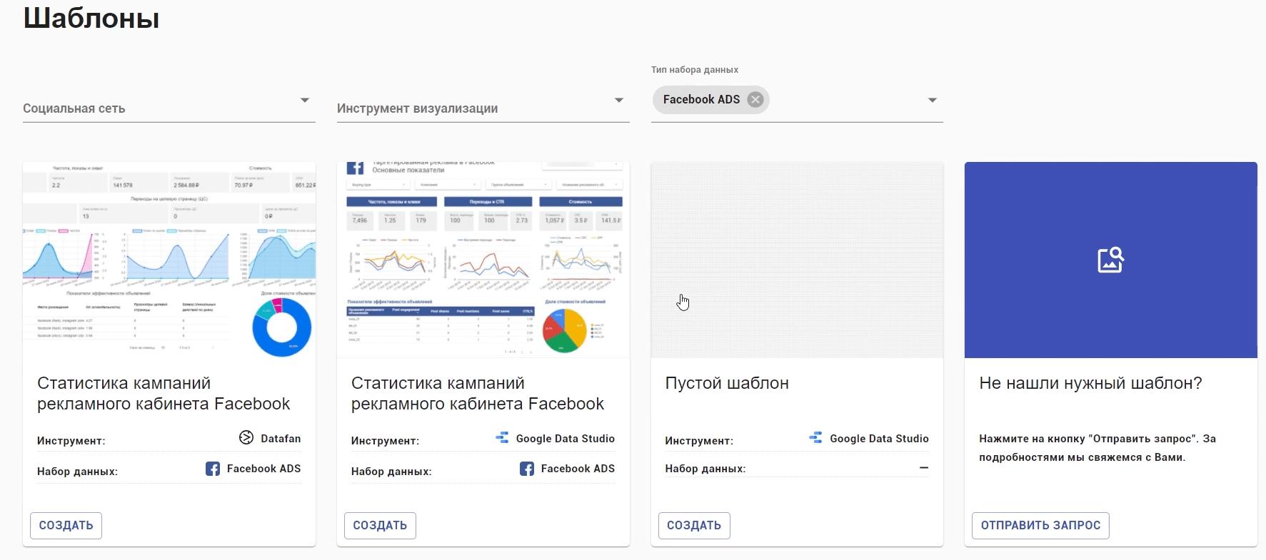 Выбирайте подходящий вариант шаблона отчета в сервисе DataFan
