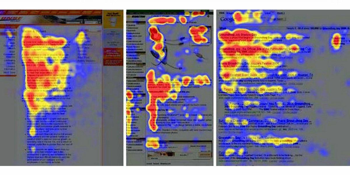 Как видно на картах, подготовленных Nielsen Group, мы начинаем просмотр с верхнего левого угла и продвигаемся слева направо, затем вниз, а затем снова слева направо, но постепенно сокращающимися отрезками