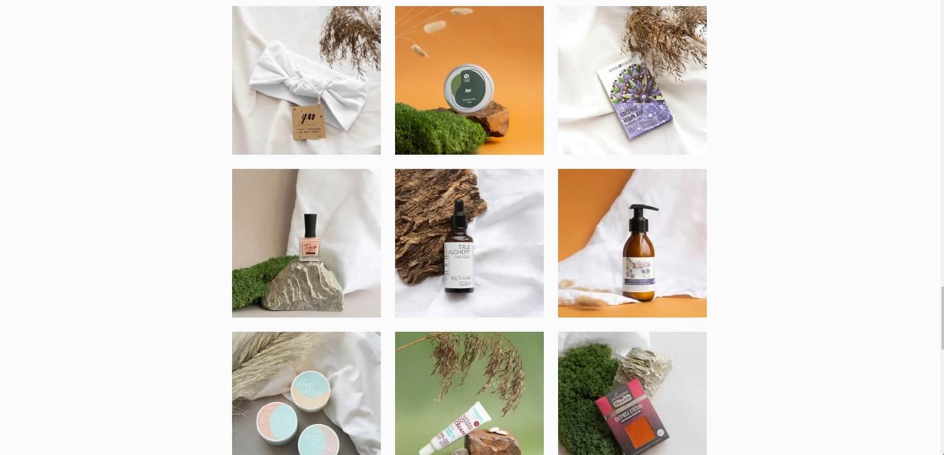 Магазин myavocadobox продает эко-товары, и в оформлении фото использует природные материалы и для фонов приглушенные натуральные цвета