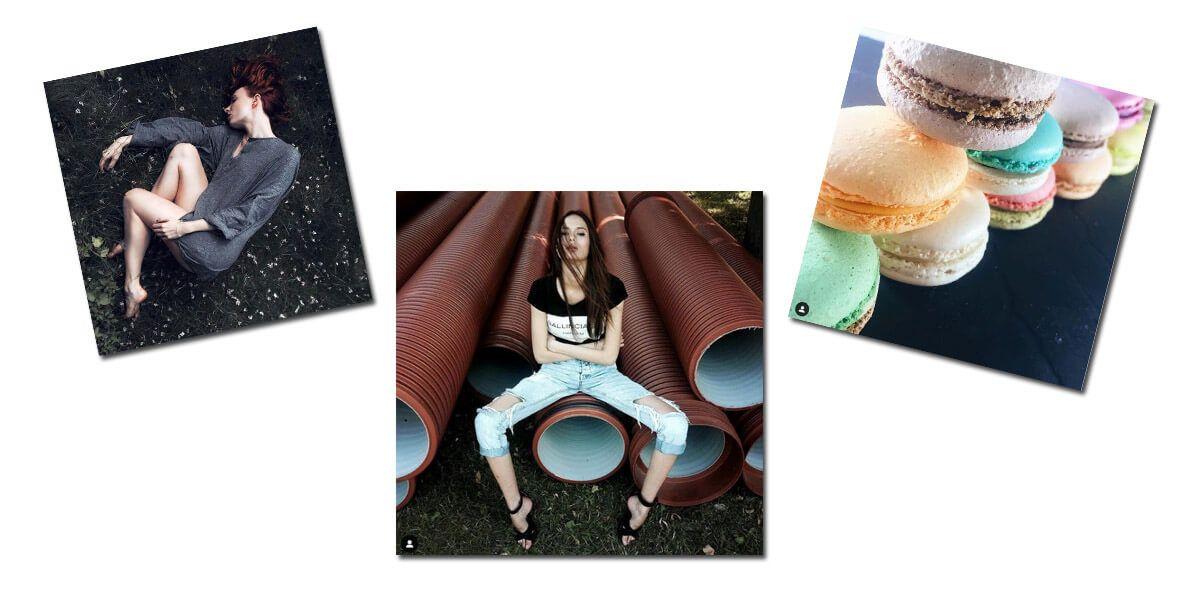 В постах Инстаграма Александра Колыхалова разные фото, но все они заточены под квадратный формат. Обратите внимание, на двух из трех фото есть диагональ