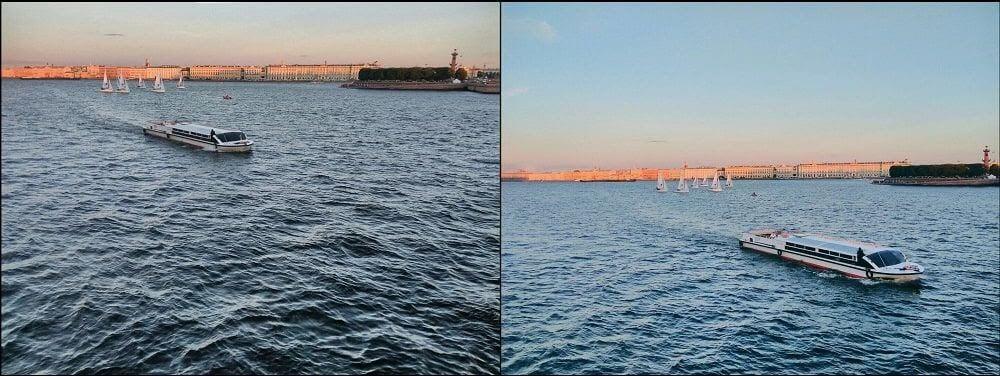 Слева фотография, которую снимала по гайдам, справа — по старой привычке