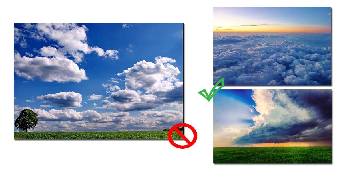 Когда небо занимает две трети фотографии, снимок выглядит гармоничнее. Если вас впечатлили облака, снимайте только облака: полоска травы внизу, да еще и притягивающий взгляд объект – дерево, ни к чему. Мы стремимся сделать профессиональное фото для Инстаграма