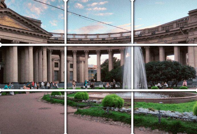 Пример с архитектурой: здание занимает примерно центральную горизонтальную часть, и две трети горизонтальных частей снимка приходятся на город, а на небо, опять же примерно, одна третья часть сверху