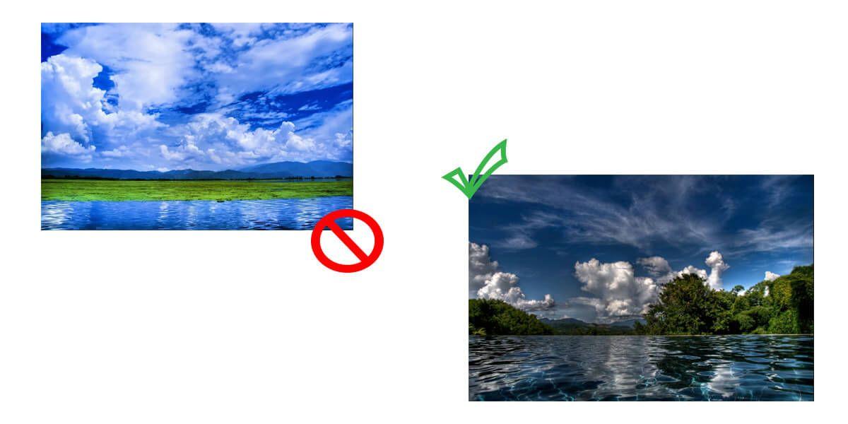 В случае совпадения низа и верха по цвету, следует отдать им на фото равный объем места. В данном случае зеленый берег лучше расположить посередине изображения, не смещая контрастную по цвету полосу ближе к низу или верху