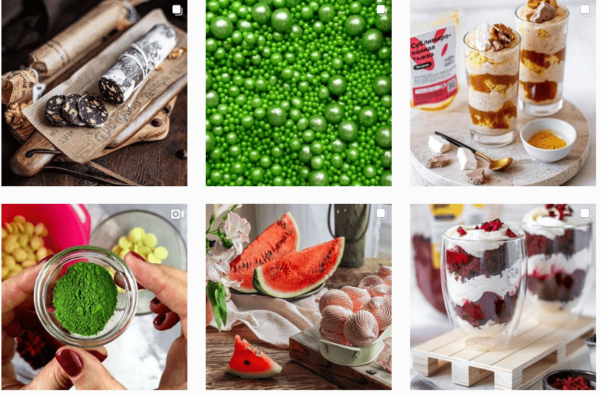 Здесь в магазине для кондитера посты расположили очень удачно: идет акцент на зеленом и красном цветах, оттенки сочные, а снимки не сливаются между собой