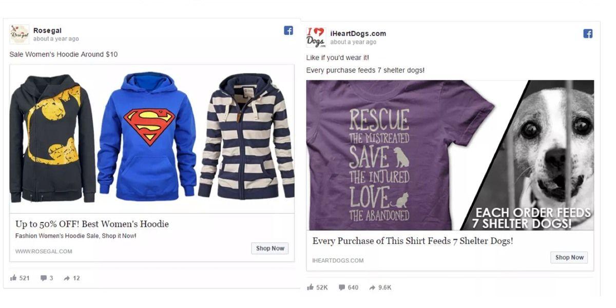 Перевод картинки 1: «Скидка до 50 %! Лучшая женская толстовка». Перевод картинки 2: «Каждая покупка этой рубашки кормит собак из приюта! Каждый заказ кормит 7 собак»