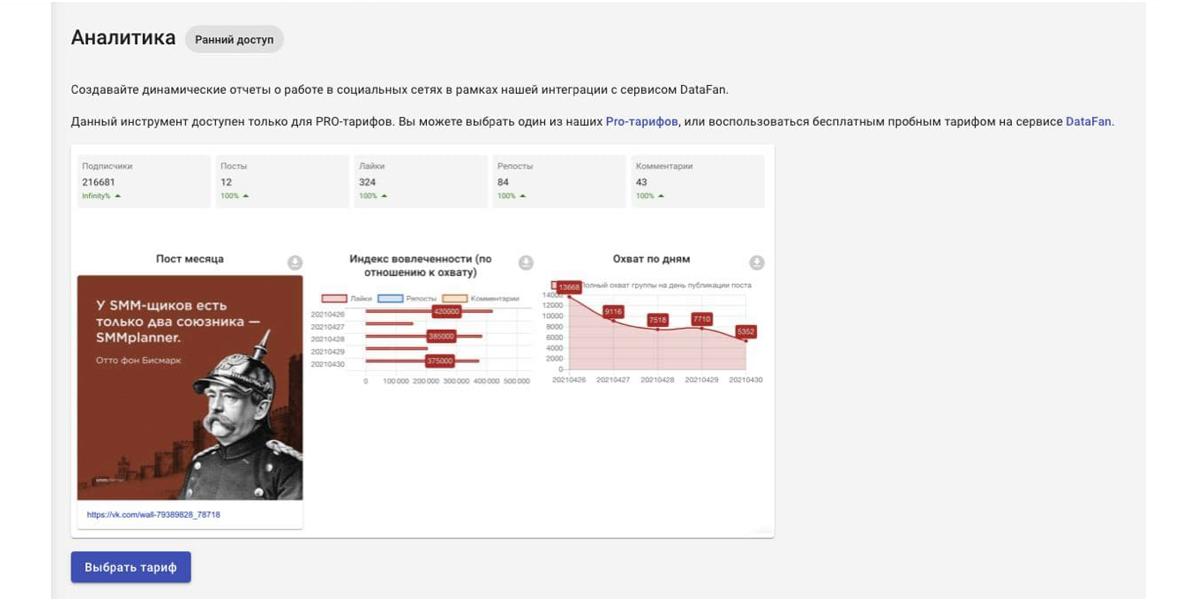 Отчет можно выгрузить из SMMplanner в формате PNG или JPG