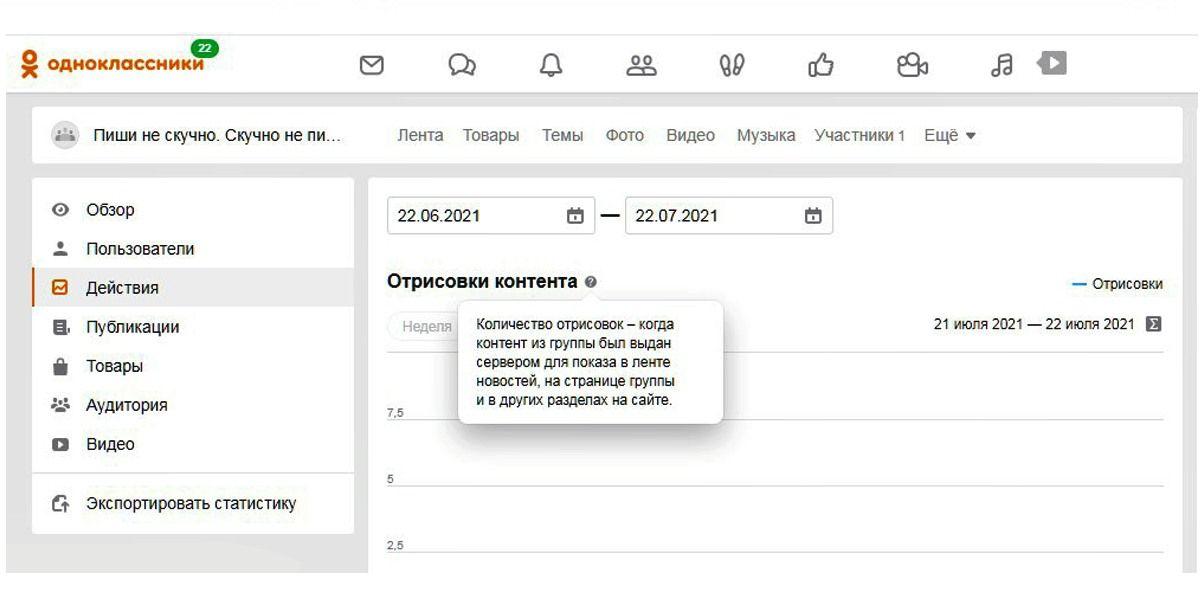 Полную версию статистики в Одноклассниках можно посмотреть с компьютера