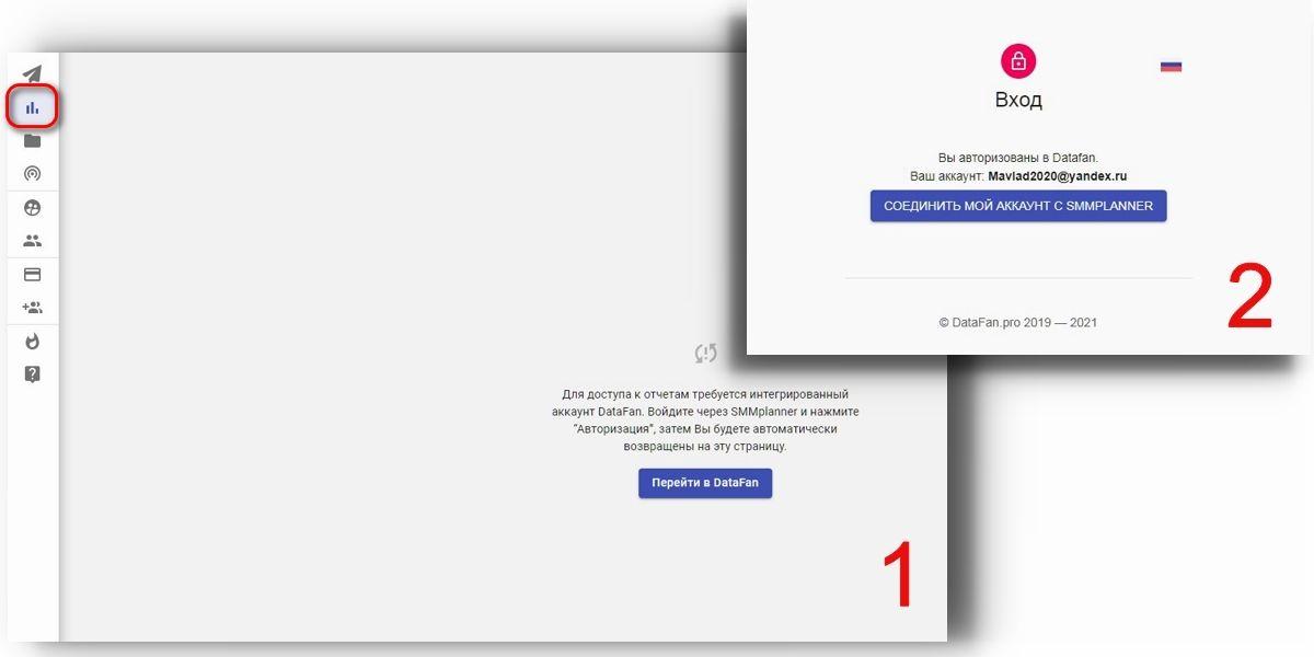 Авторизация происходит в два клика: перейти в DataFan и соединить аккаунт с SMMplanner. Теперь вы зарегистрированы в DataFan и сможете просматривать статистику в SMMplanner