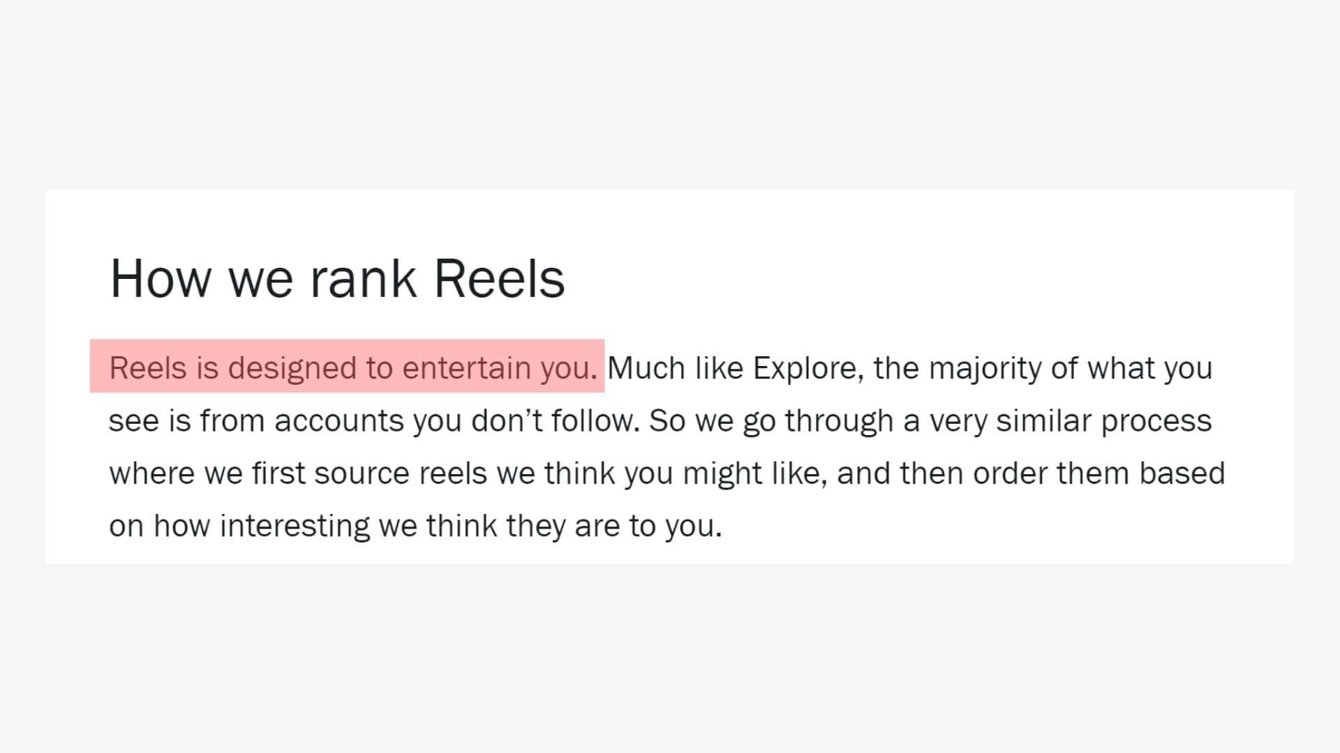 В официальном блоге соцсети прямо говорится, что Reels – для развлечения