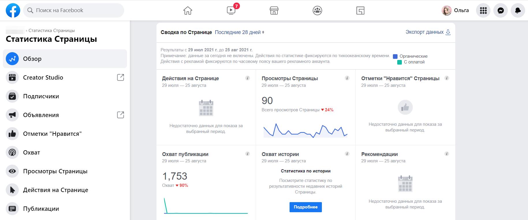 Статистику страницы в Фейсбуке можно посмотреть также в Creator Studio, кликнув по ссылке в боковом меню