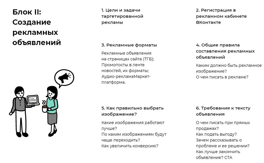 Часть программы курса от SMM.school