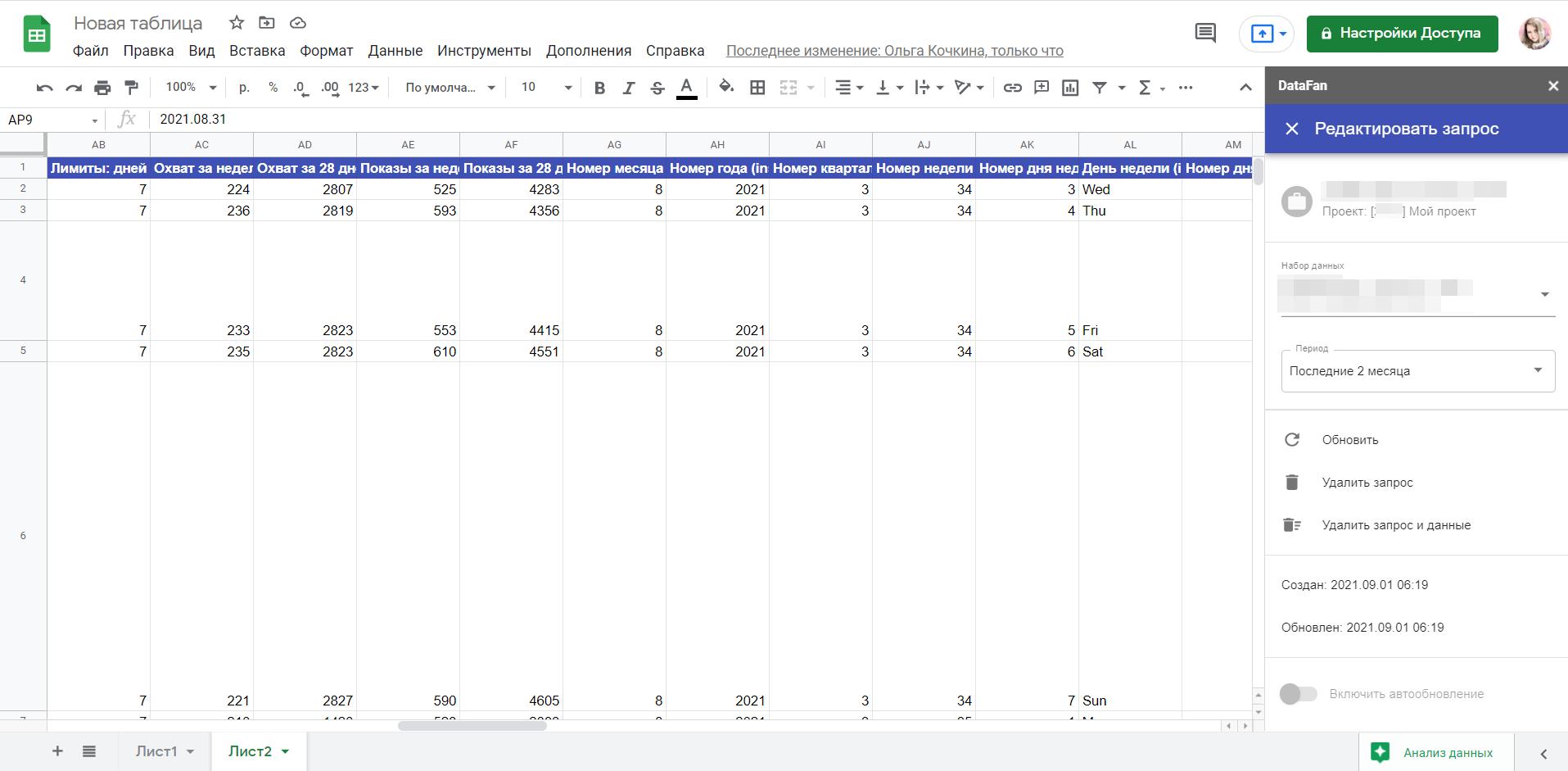 Данные из соцсетей в Google Таблицах, на основе которых можно строить отчет