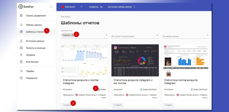 На странице сервиса находим шаблоны отчетов, в графе «Социальная сеть» выбираем Инстаграм