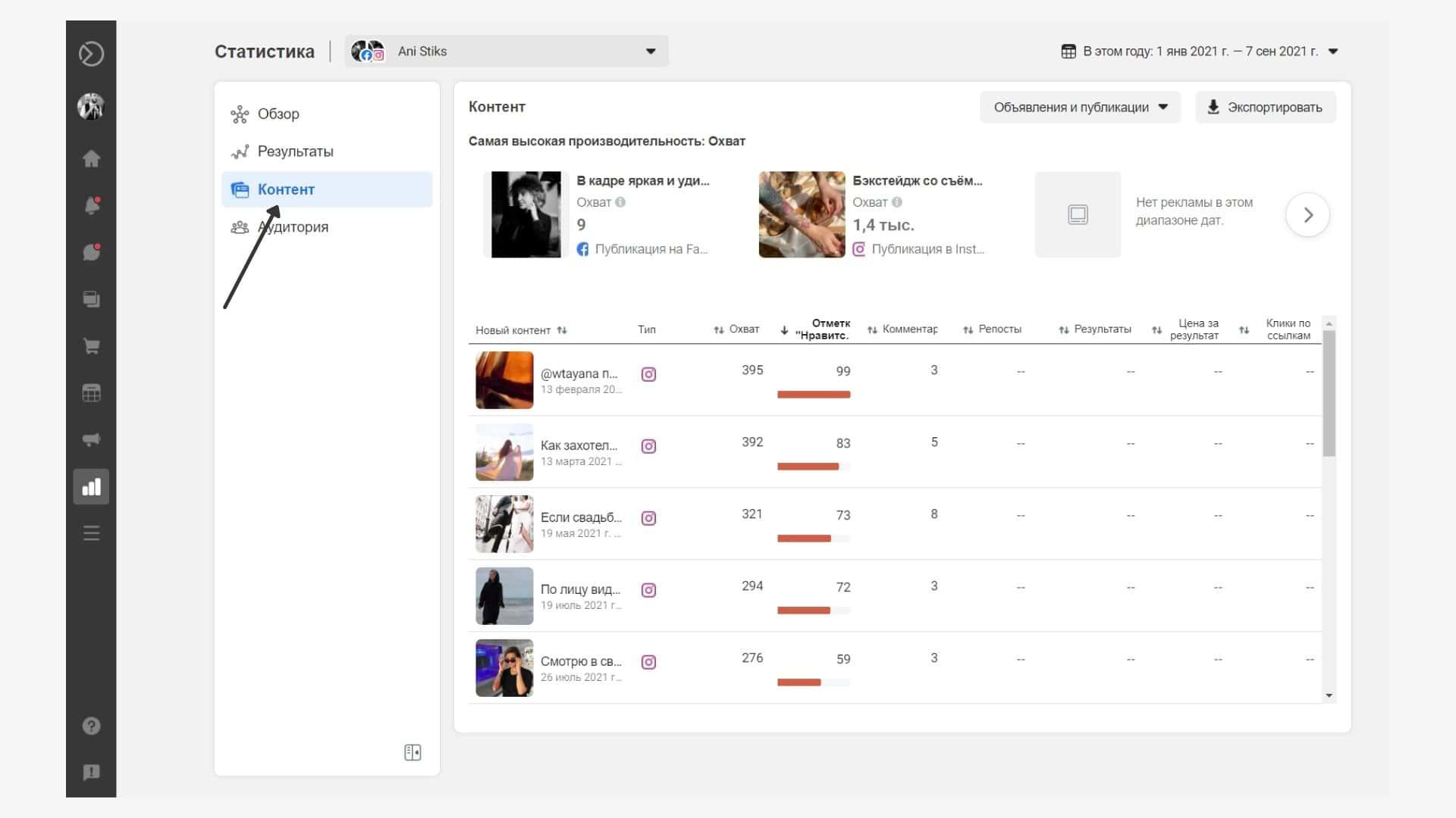 Статистика контента в Business Suite