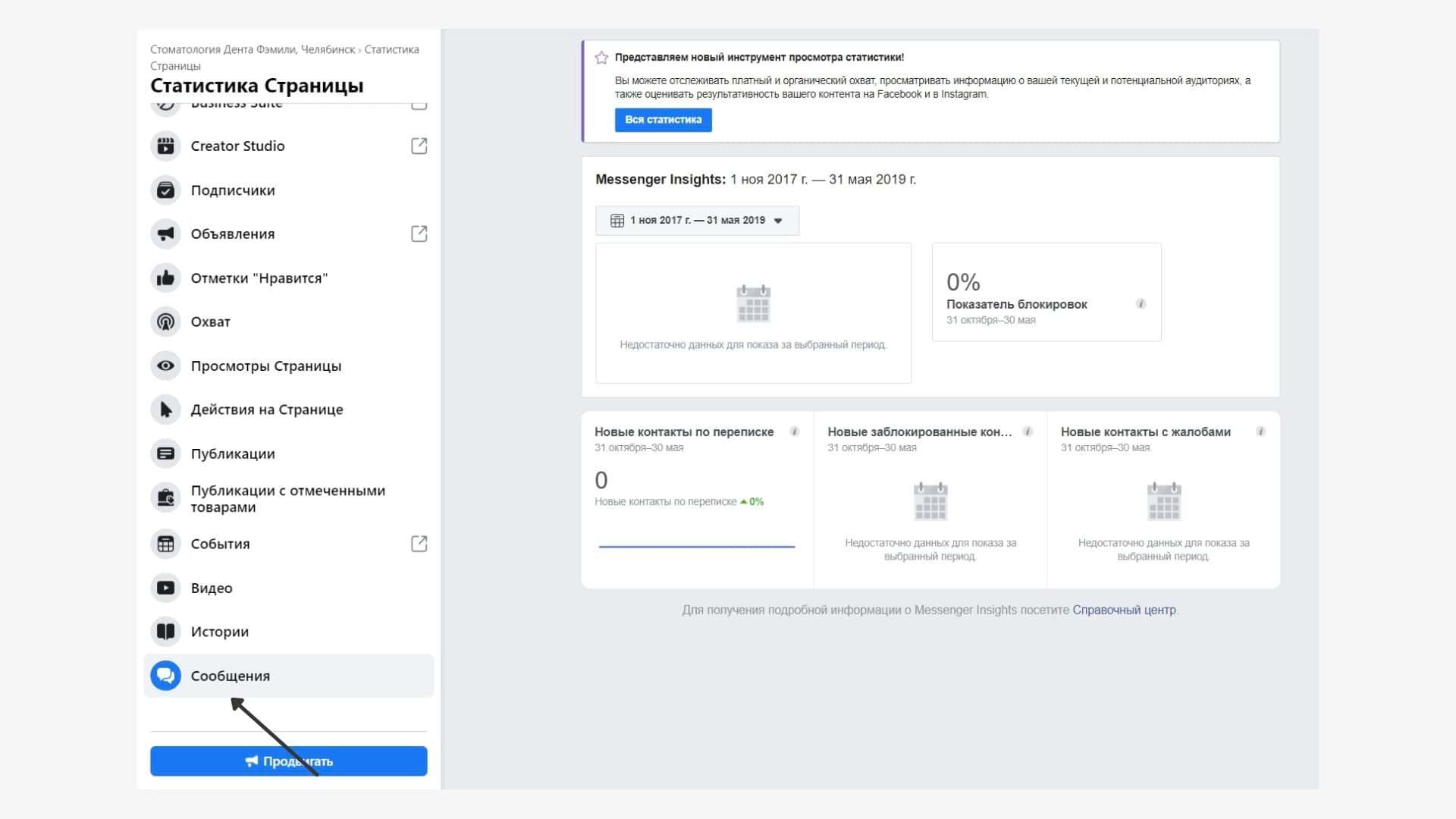 Статистика сообщений в Фейсбуке