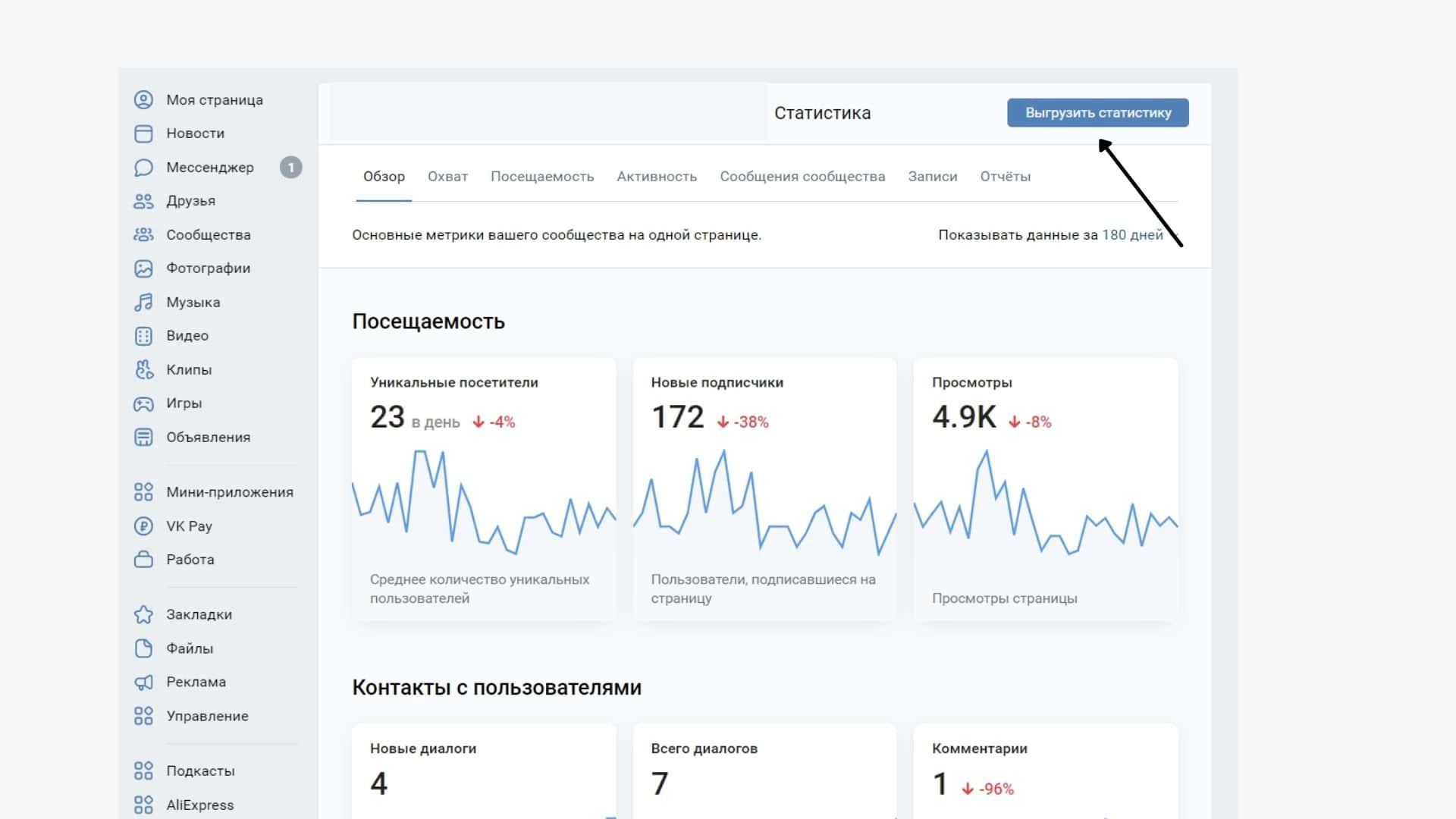 Как скачать статистику сообщества во ВКонтакте